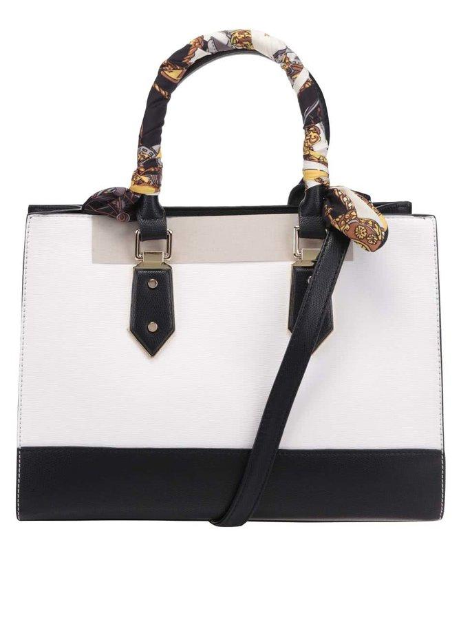 Černo-krémová kabelka s šátkem a detaily ve zlaté barvě ALDO Toypoddle