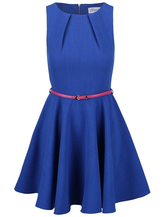 Modré šaty s růžovým páskem Closet