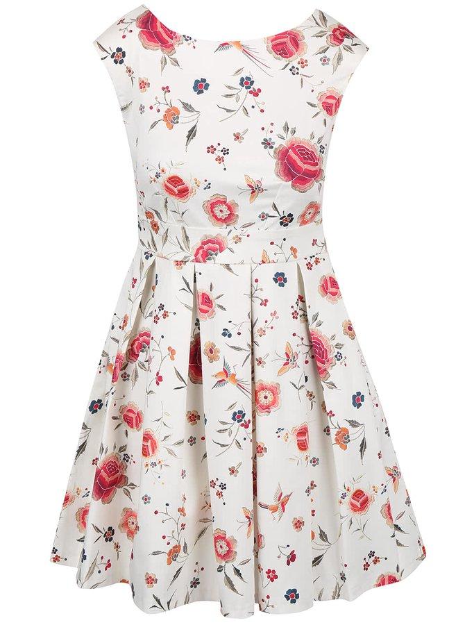 Krémové kvetované šaty s mašľou v páse Closet