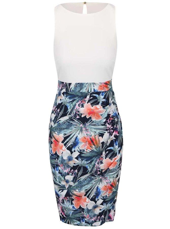 Farebné kvetované šaty s krémovým topom Closet