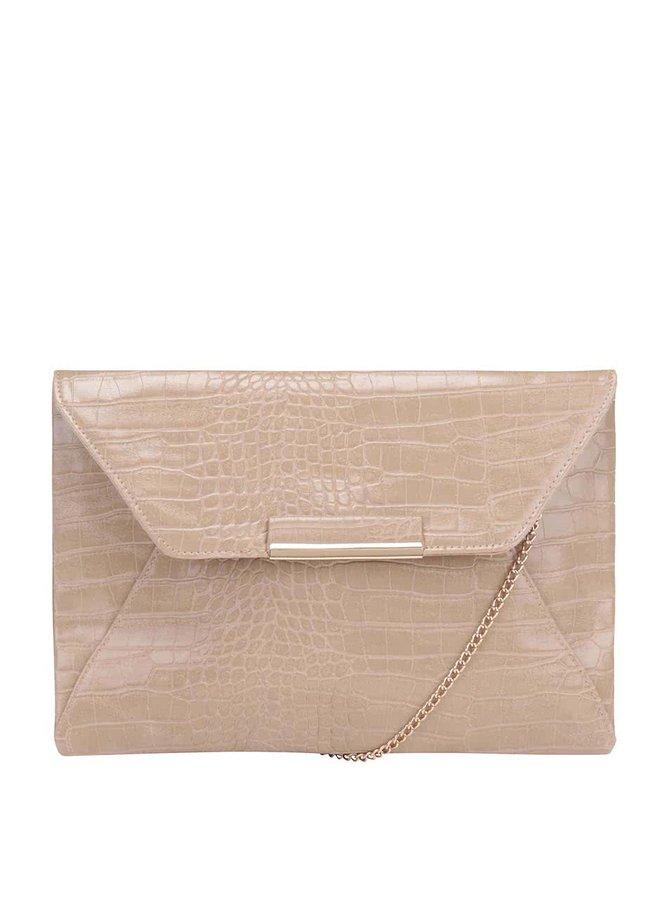 Krémová lesklá listová kabelka so vzorom krokodílej kože Dorothy Perkins