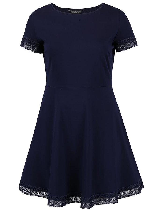 Tmavomodré šaty s čipkovaným lemom Dorothy Perkins Curve
