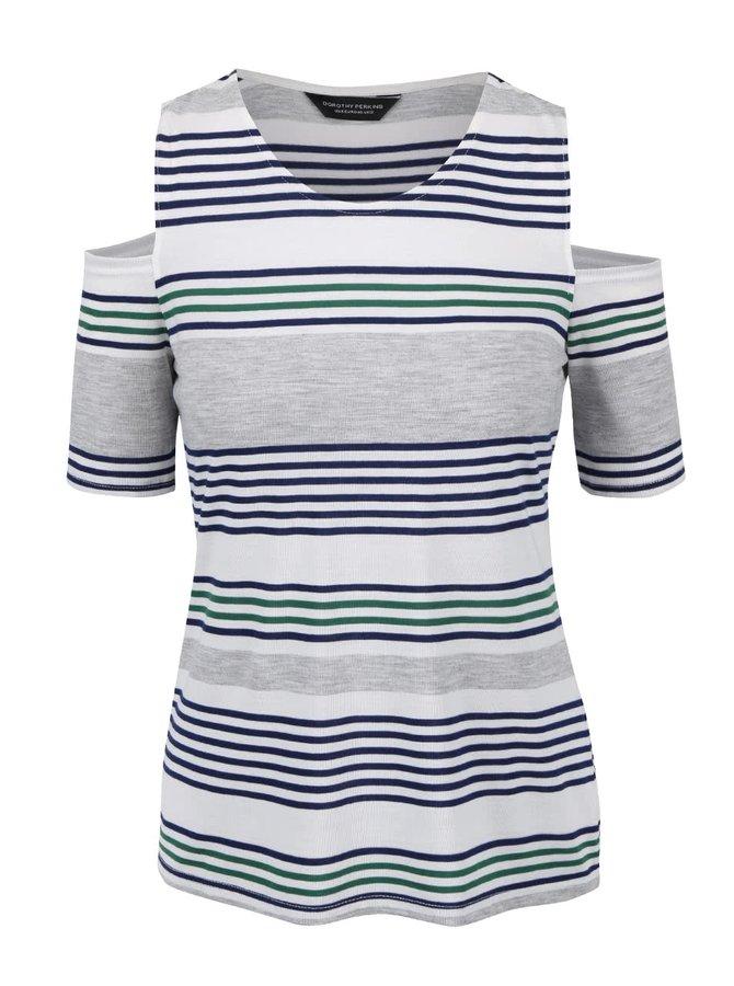 Šedé pruhované tričko s průstřihy na ramenou Dorothy Perkins