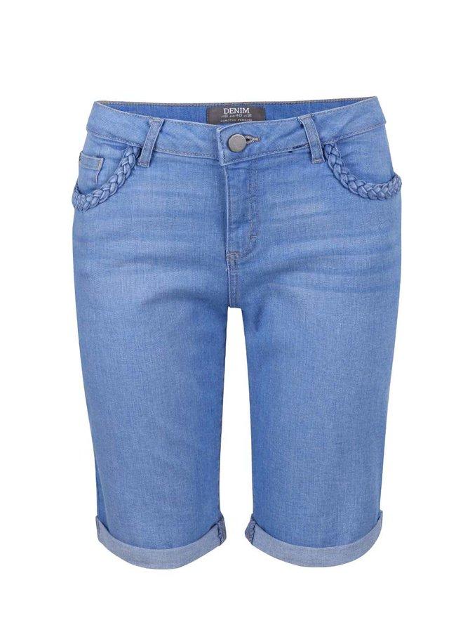 Modré džínové kraťasy s ozdobnými lemy u kapes Dorothy Perkins