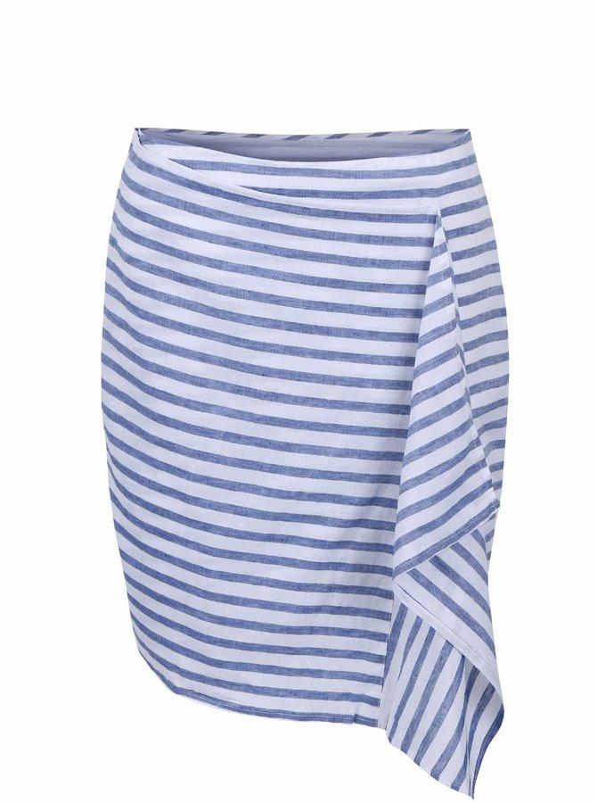 Modrá pruhovaná lněná sukně s volánem Nautica