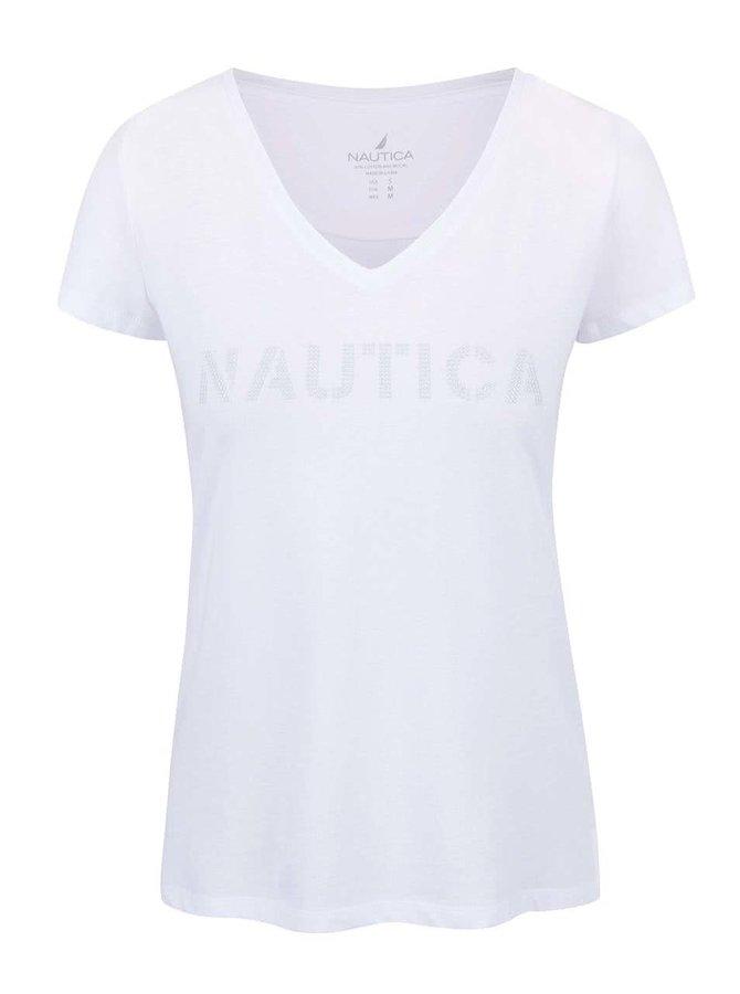 Bílé dámské tričko s véčkovým výstřihem a aplikací Nautica