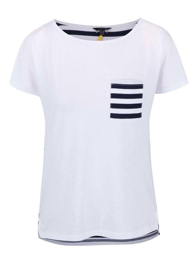 Biele dámske tričko s pruhovaným vreckom Nautica