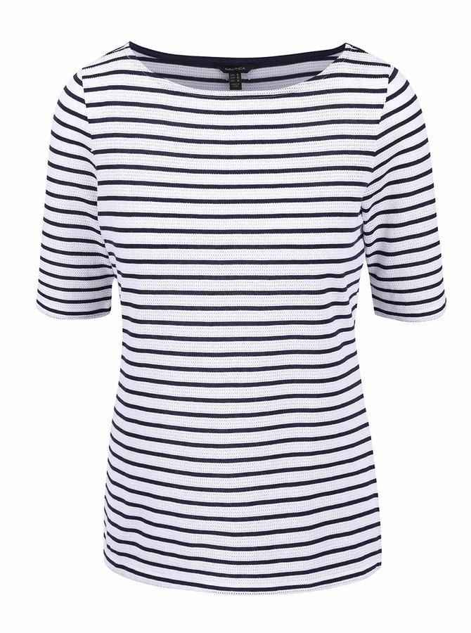 Modro-biele dámske pruhované tričko so vzorom Nautica