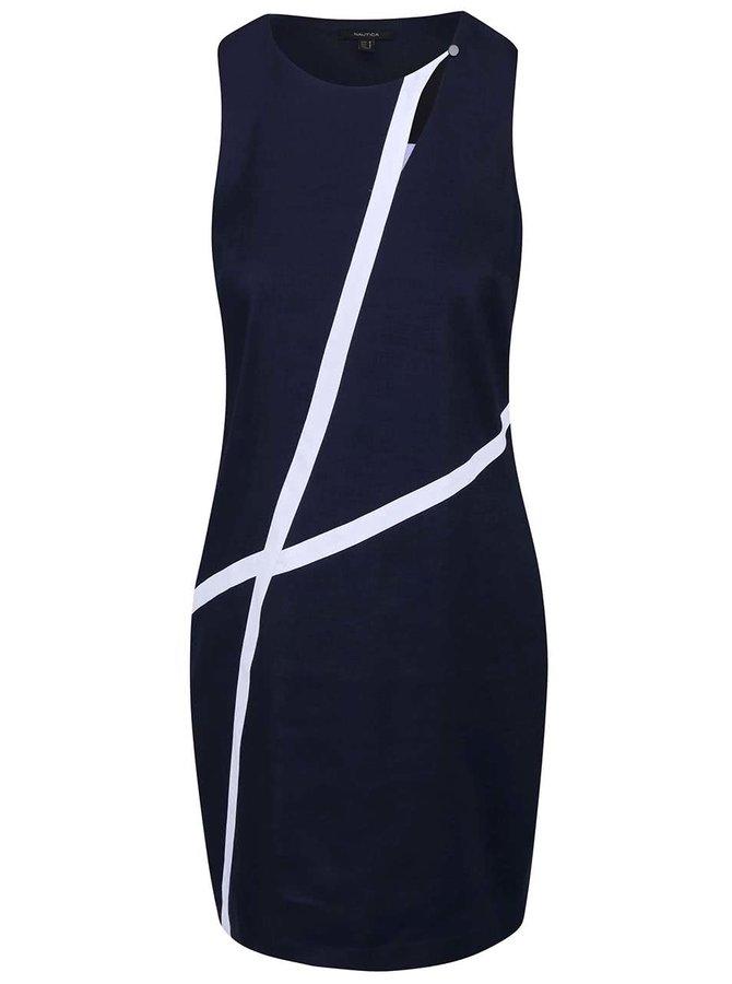 Tmavě modré lněné šaty s bílými detaily Nautica