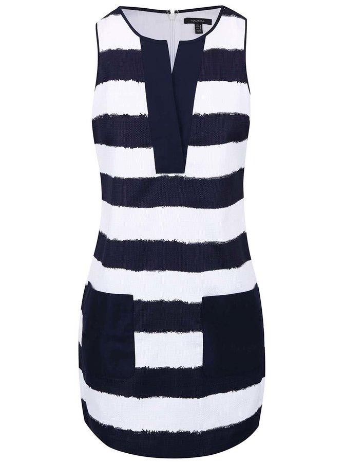 Bielo-modré pruhované šaty s vreckami Nautica