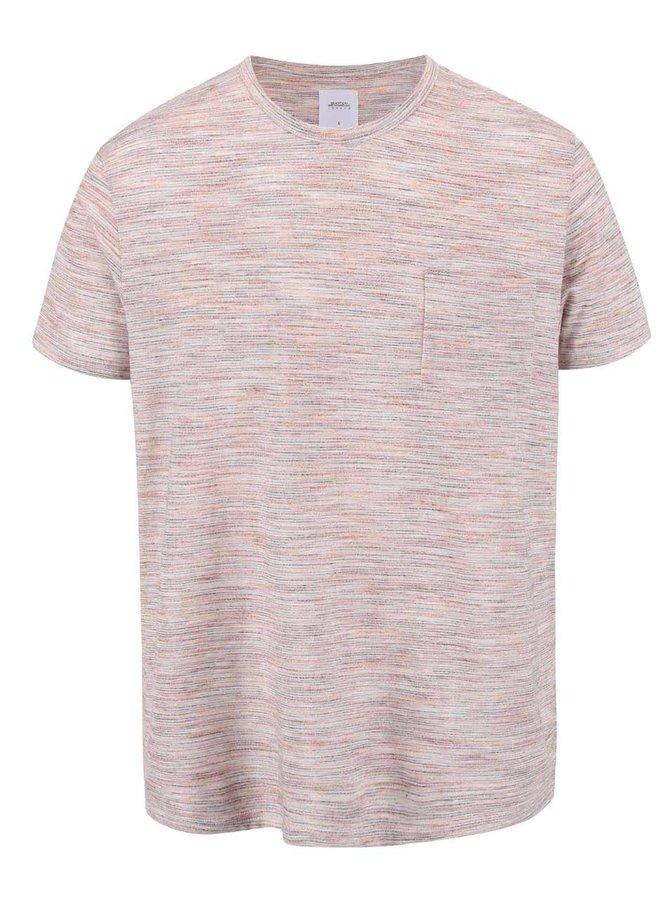 Oranžové melírované tričko s vreckom Burton Menswear London