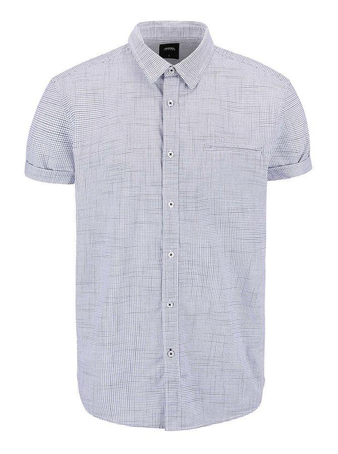 Modro-krémová kostkovaná košile s krátkým rukávem Burton Menswear London