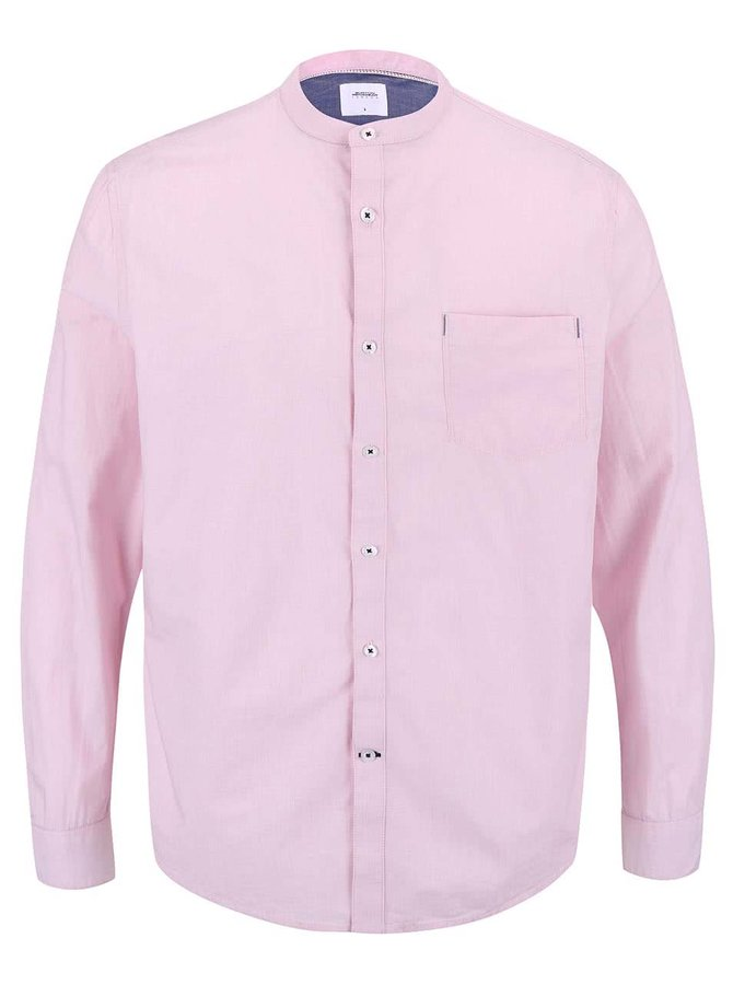 Svetloružová košeľa s modrými detailmi Burton Menswear London