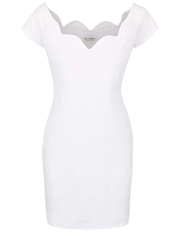 Krémové šaty s lodičkovým výstrihom Miss Selfridge