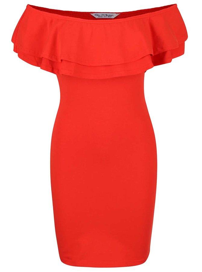 Červené šaty s volánikmi Miss Selfridge