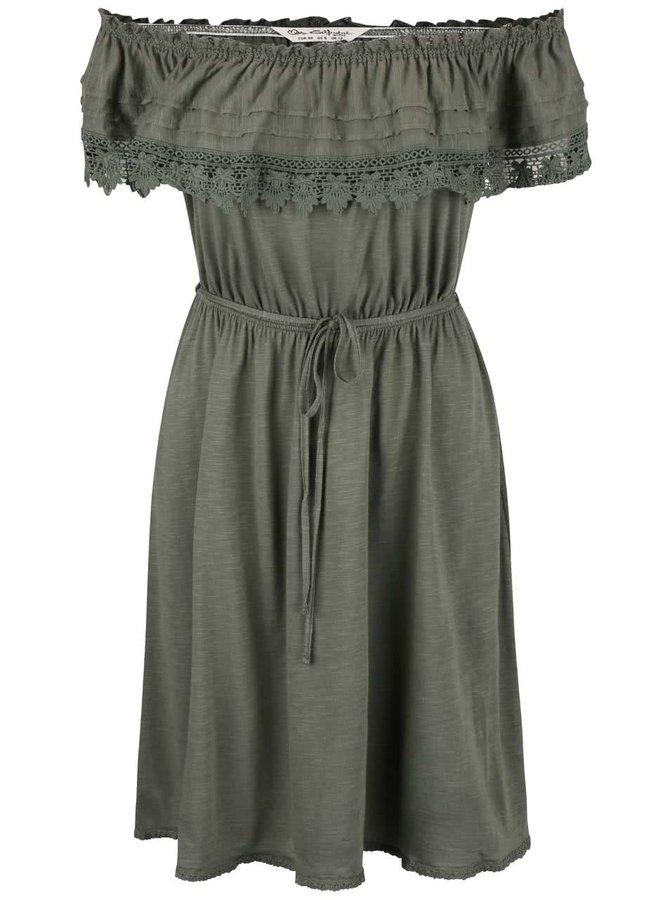 Khaki šaty s krajkovým volánkem Miss Selfridge