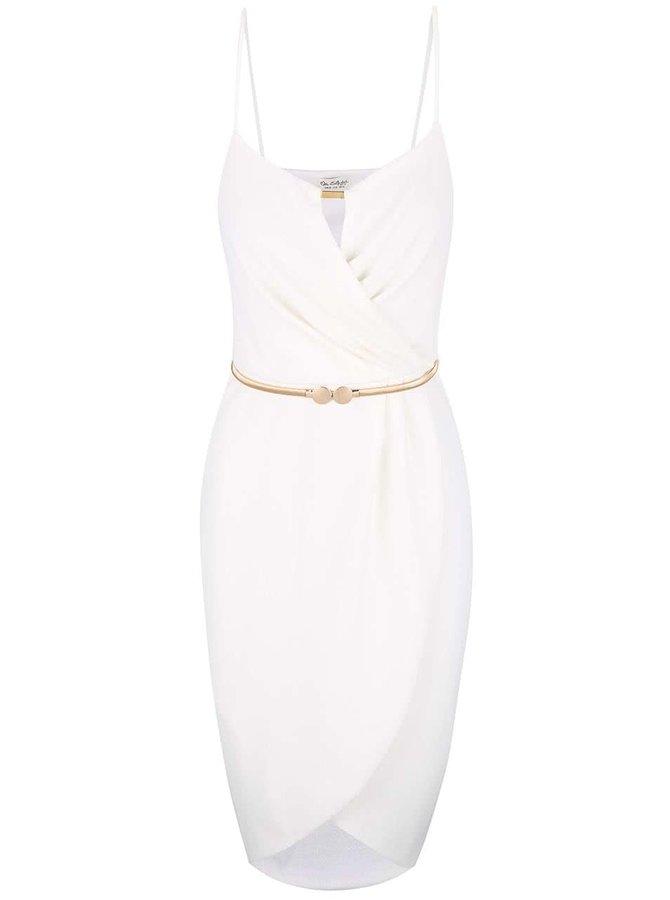 Krémové šaty s opaskom v zlatej farbe Miss Selfridge
