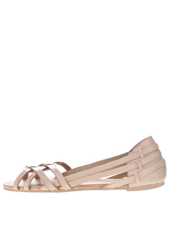 Sandale bej Miss Selfridge din piele naturală