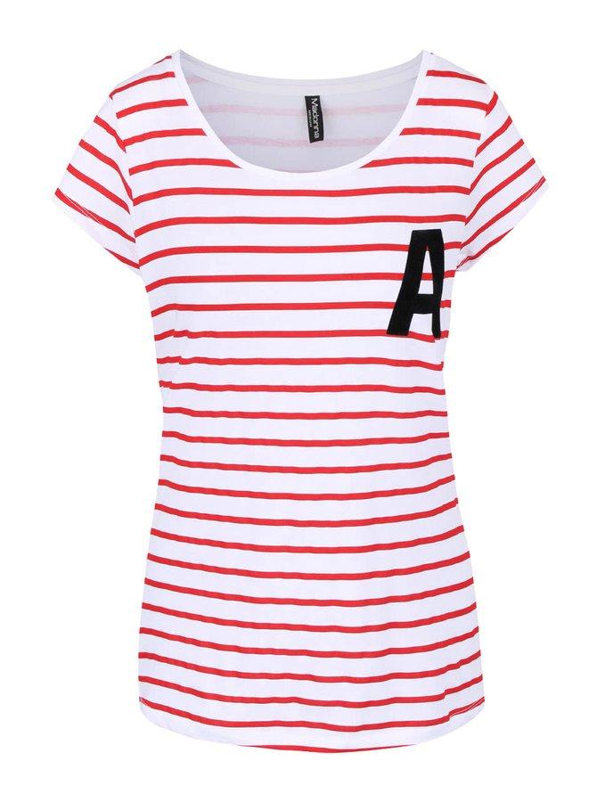 Červeno-bílé pruhované tričko Madonna