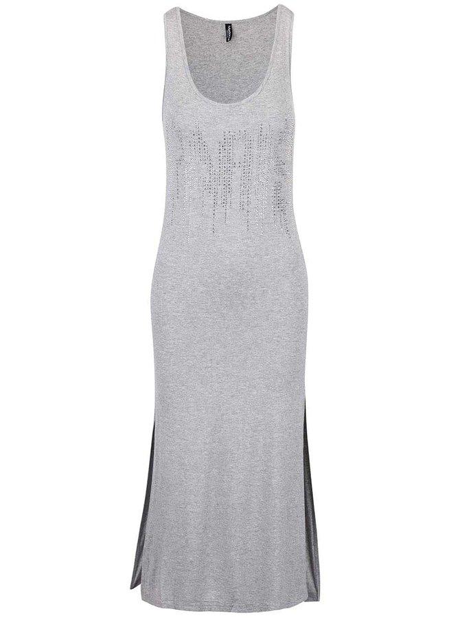 Sivé melírované maxi šaty s trblietavým nápisom Madonna