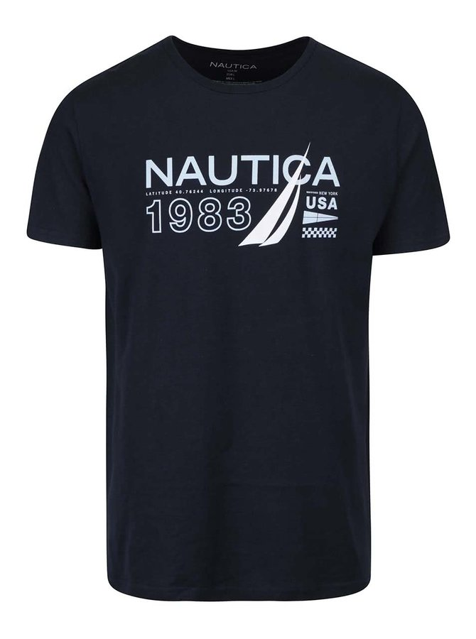 Tmavě modré pánské triko s potiskem Nautica
