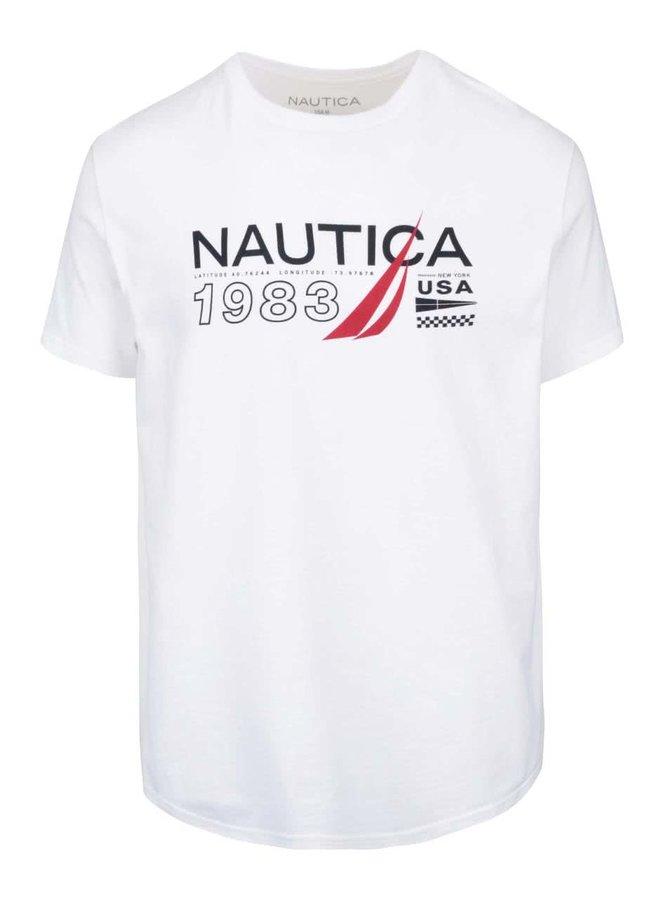 Biele pánske tričko s potlačou Nautica