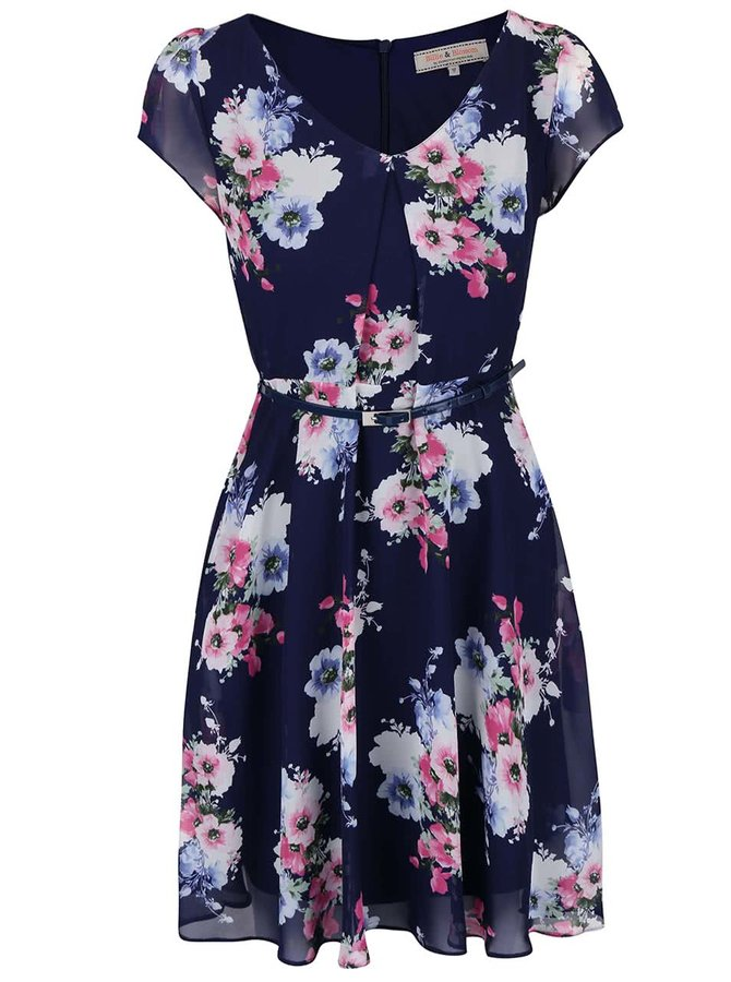 Tmavofialové kvetované šaty s opaskom Dorothy Perkins