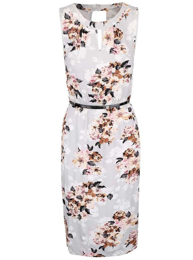 Sivé kvetované šaty s opaskom Dorothy Perkins