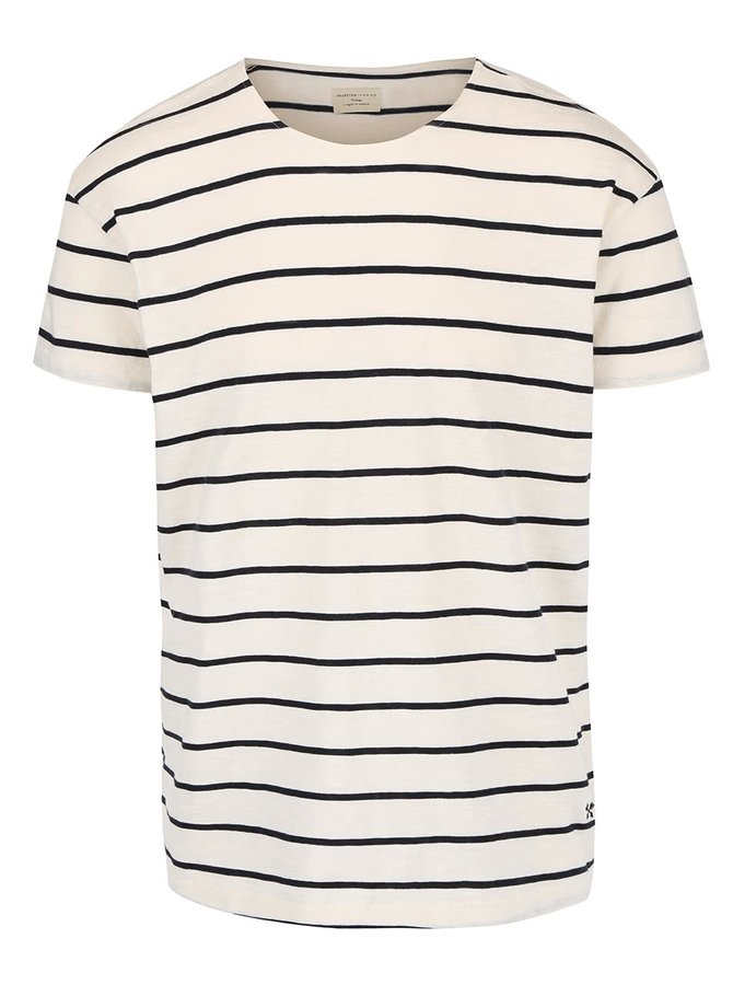 Krémové pruhované tričko Selected Homme Garret