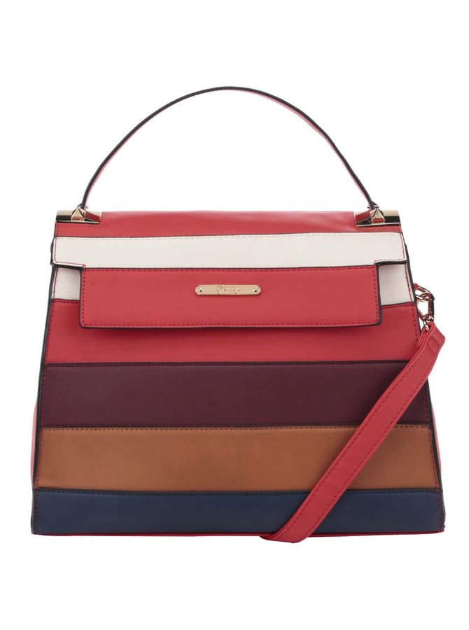 Červená crossbody kabelka s barevnými pruhy Gessy