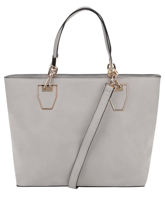 Svetlosivá kabelka do ruky s detailmi v zlatej farbe Gessy