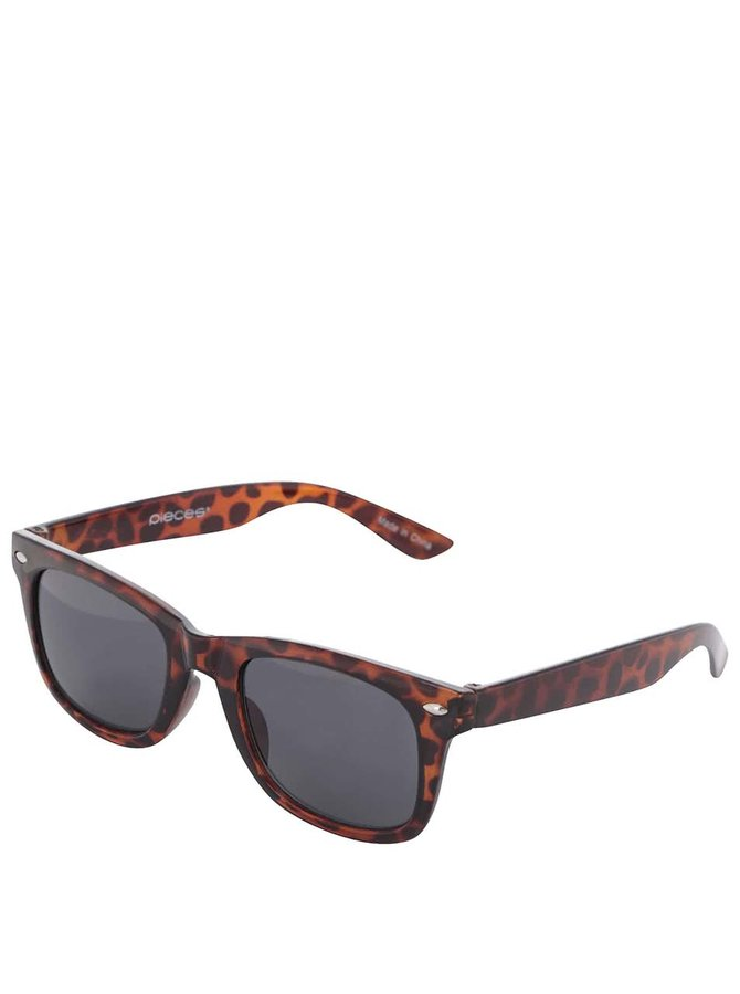 Hnědé želvovinové sluneční brýle Pieces Vibba