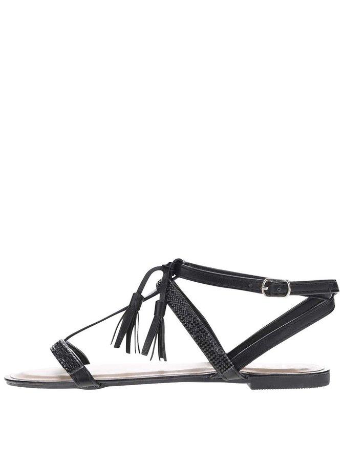 Černé sandály s třásněmi Jenny Haily's