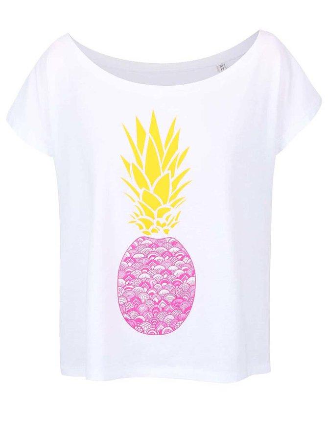 Biele dámske voľnejšie tričko ZOOT Originál Ananas