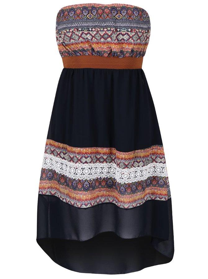 Tmavě modré vzorované šaty bez ramínek Haily´s Aubrey
