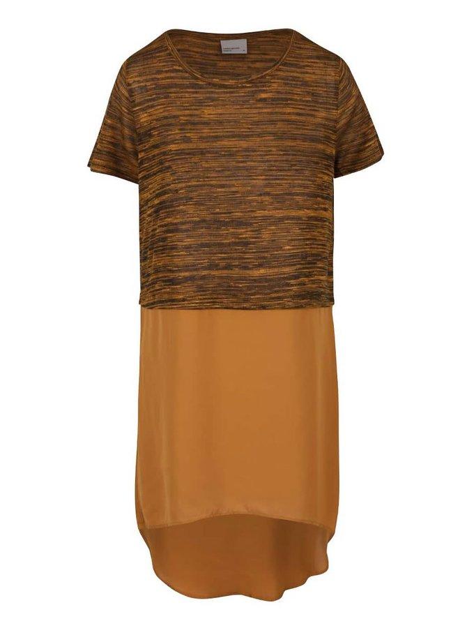 Hnědé dlouhé tričko VERO MODA Juca