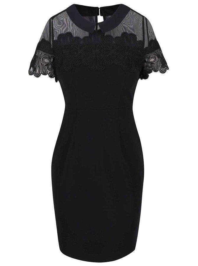 Čierne šaty s ozdobnou výšivkou Dorothy Perkins Petite