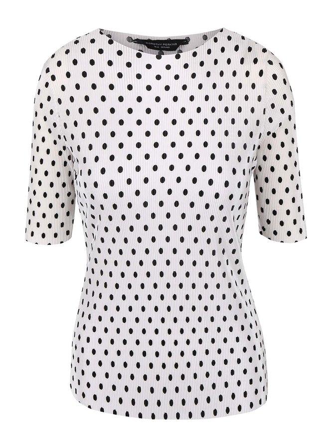 Bílé tričko s černými puntíky Dorothy Perkins