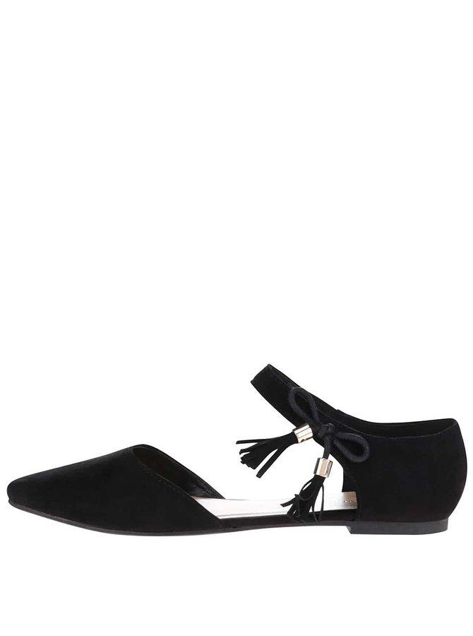 Černé sandály s plnou špičkou v semišové úpravě Dorothy Perkins
