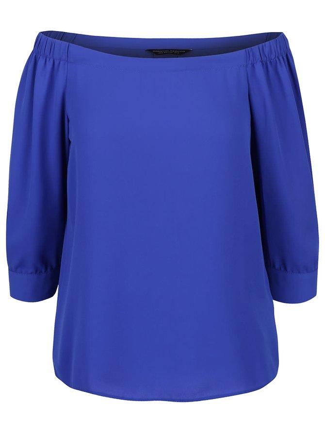 Modrá voľná blúzka s odhalenými ramenami Dorothy Perkins