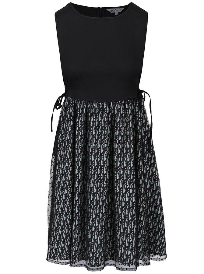Zeleno-černé šaty se vzorovanou sukní LYDC