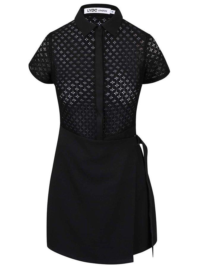 Čierne zavinovacie šaty s golierom LYDC