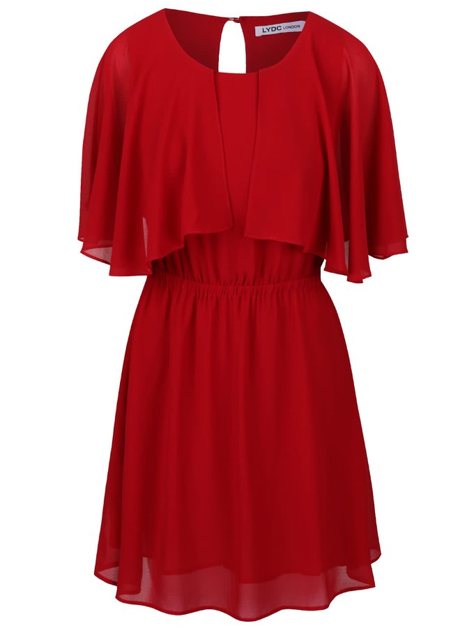 Červené šaty stažené v pase LYDC