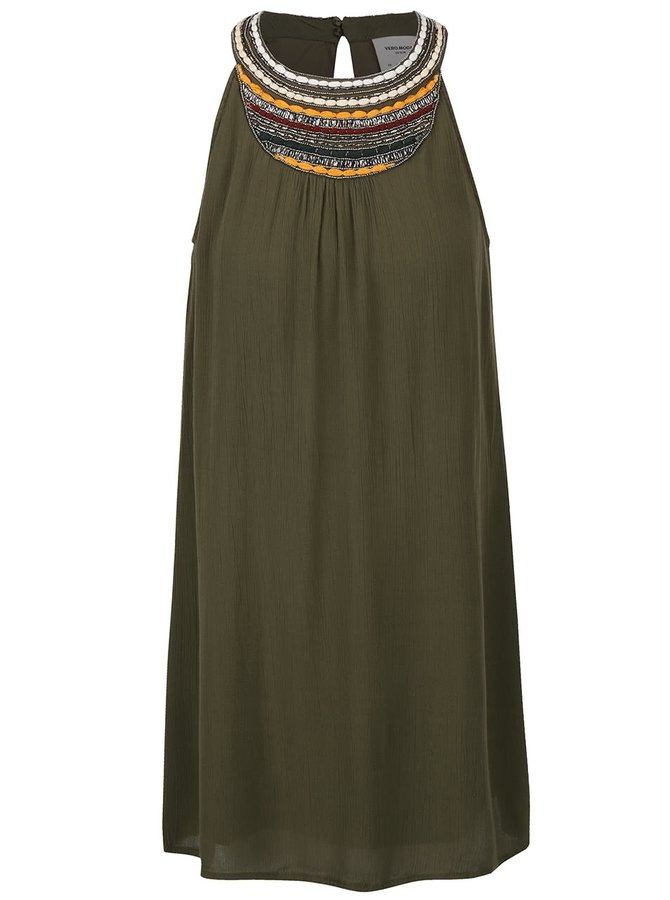 Khaki šaty s ozdobným dekoltem VERO MODA Zura