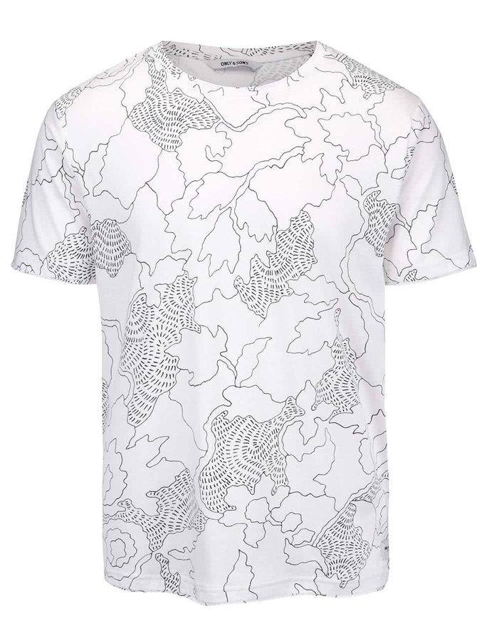 Bílé triko se vzorem Only&Sons Normal