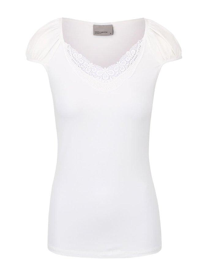 Krémové tričko s čipkovaným výstrihom VERO MODA Inge