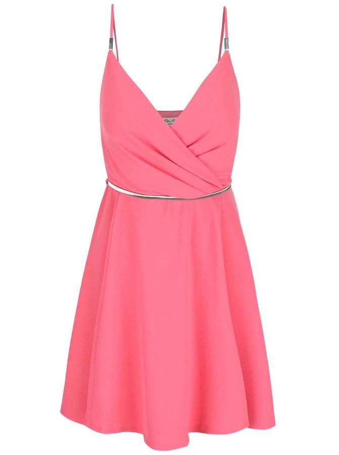 Ružové šaty s opaskom v striebornej farbe Miss Selfridge