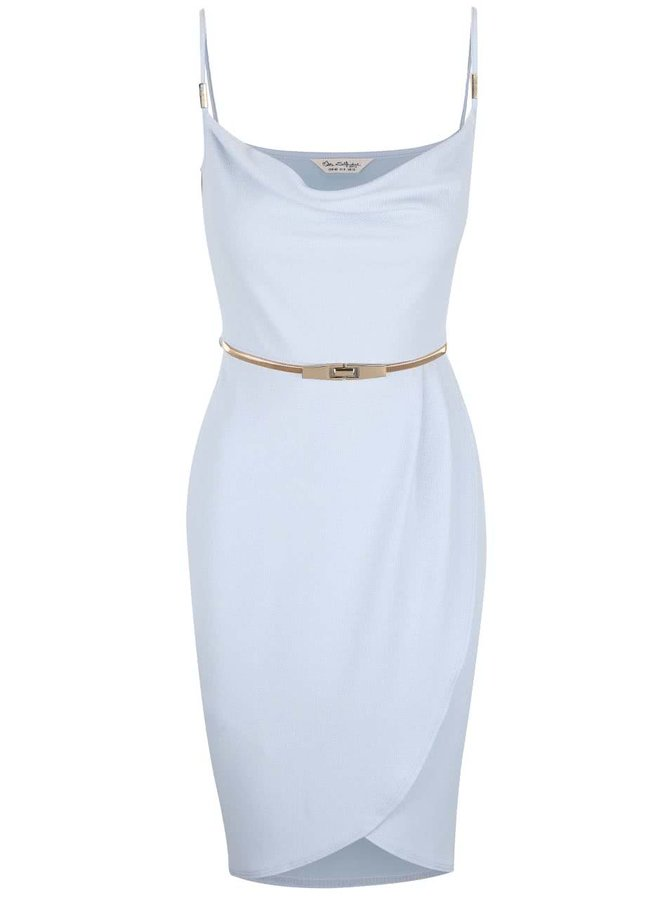 Svetlomodré šaty s opaskom v zlatej farbe Miss Selfridge