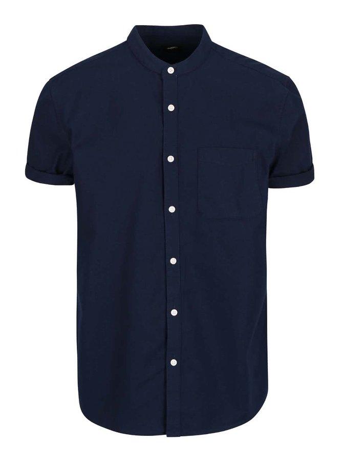 Cămașă Burton Menswear London albastră cu mâneci scurte și guler îngust