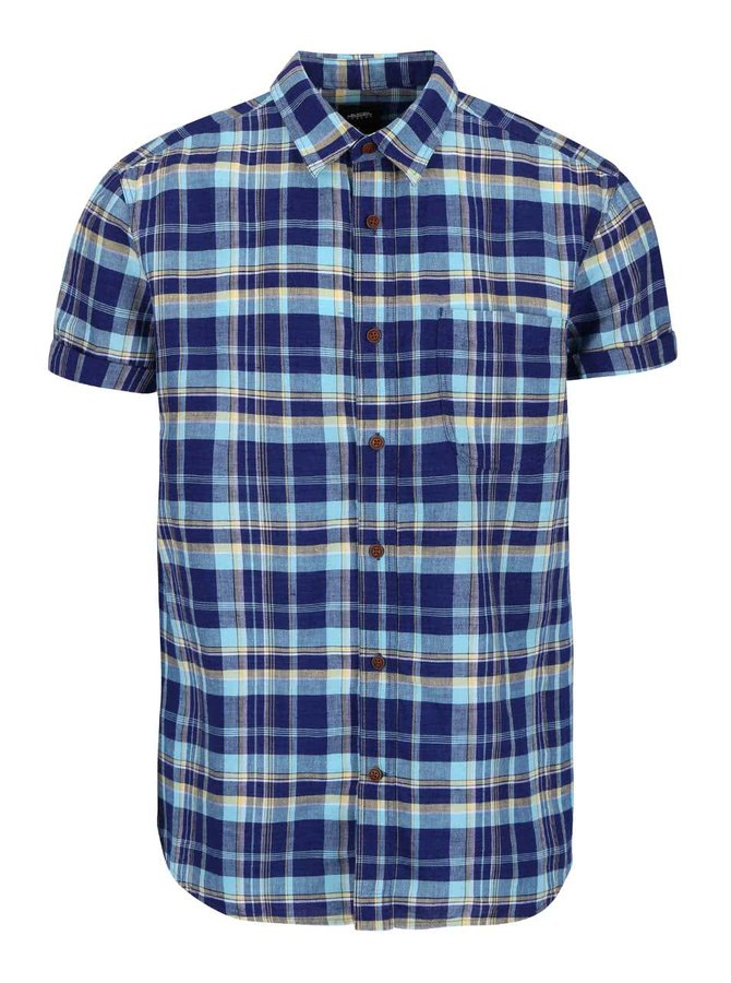 Modrá kostkovaná lněná košile Burton Menswear London
